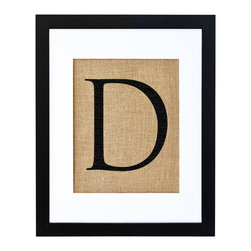 Fiber and Water - Letter D Art - Let your letter of choice, hand-pressed on natural burlap and housed in a distressed wood frame, bring you own special style to any setting. In a nursery or entryway, it will proudly display a first or last initial for a personalized touch.