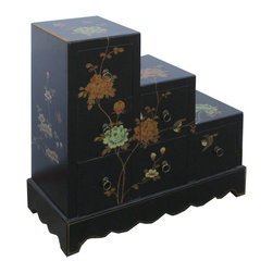 Golden Lotus - Black Leather Flower Bird Hand Paint Japanese Step Tansu Cabinet - Look at this flower and bird hand paint  side cabinet which is made of elm wood and the outside of cabinet is wrapped artificial leather, and the inside of cabinet has Chinese calligraphy on it.  The cabinet provides six drawers which can be used as a dresser.