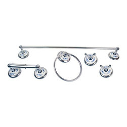 Moen - Moen Boutique Blue Floral 5-piece Bath Accessory Kit R7 - Update the look of your bathroom decor with this Moen 5-piece bath accessory kit
