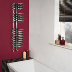 Hudson Reed - Hudson Reed Coil (20 ring) Heated Towel warmer - The attractive chrome loops of this heated towel rail combine fashion with function, as they produce a heat output of 412 Watts, enough to keep towels warm and to heat a bathroom or cloakroom.An eye-catching focal point of any domestic setting, this designer towel rail connects directly into your domestic central heating system via the radiator valves included (select either angled or straight).Loop Chrome Designer Heated Towel Rail Radiator 47.25 x 12.6 Details  Dimensions: 47.25 (Height); 12.6 (Diameter) Output: 412 Watts (1,406 BTUs) Pipe Centres: 4 20 coils, divided into 3 sections of 4, 6, 10 Wall Mounting Pack Included Tested to BS EN442 (10 bar maximum working pressure) Please note: choose either the straight or angled radiator valves (included in price).  Please Note: Our radiators are designed for forced circulation closed loop systems only. They are not compatible with open loop, gravity hot water or steam systems.