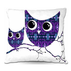 DiaNoche Designs - Woven Poplin Owl Pillow - Toss this decorative pillow on any bed, sofa or chair, and add personality to your chic and stylish decor. Lay your head against your new art and relax! Made of woven Poly-Poplin.  Includes a cushy supportive pillow insert, zipped inside. Dye Sublimation printing adheres the ink to the material for long life and durability. Double Sided Print, Machine Washable, Product may vary slightly from image.