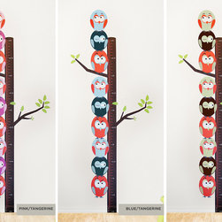 Wall Decals - Stacked Birds Fabric Growth Chart Decal is the perfect addition to your child's room! Record their growth with the tiny leaves as markers (15 provided) and rejoice at every growth milestone.