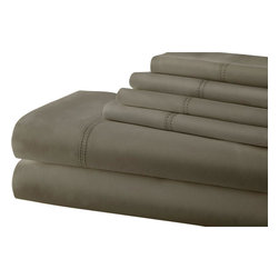 Symphony 1000 Thread Count Blend Double Hem Stitch 6-piece Sheet Set Queen Khaki - Sleep like a baby with these luxuriously comfortable 1000 thread count sheets, crafted with a rich Egyptian cotton and polyester blend. Available in several neutral colors, these sheets and pillowcases are accented with a double-hole hem design.