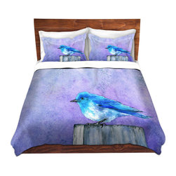 DiaNoche Designs - Duvet Cover Microfiber by Brazen Design Studio - Bluebird Bliss - Super lightweight and extremely soft Premium Microfiber Duvet Cover in sizes Twin, Queen, King.  This duvet is designed to wash upon arrival for maximum softness.   Each duvet starts by looming the fabric and cutting to the size ordered.  The Image is printed and your Duvet Cover is meticulously sewn together with ties in each corner and a hidden zip closure.  All in the USA!!  Poly top with a Cotton Poly underside.  Dye Sublimation printing permanently adheres the ink to the material for long life and durability. Printed top, cream colored bottom, Machine Washable, Product may vary slightly from image.