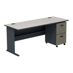 """BBF - BBF Series A 72W Desk with 3-Drawer Mobile Pedestal (Assembled) - BBF - Commercial Grade Office - SRA013SLSU - The abundant work space of the BBF series A 72""""W desk coupled with the 3-Drawer Mobile Pedestal creates versatile functionality with straight-forward styling in a White Spectrum finish with contrasting Slate Gray accents for a look that makes a statement in any space. Convenience and smart design allows you to reconfigure and add to your office space as your needs change. Featuring two box drawers for office supplies and a lockable file drawer that accommodates letter legal and A4 file sizes the Mobile Pedestal fits neatly under the work surface. Box drawers glide on �_""""-extension ball bearing slides and the file drawer fully extends for back file access to keep the necessities at your fingertips. The wire management system provides desktop and leg grommets to maintain an orderly desktop free of wires and with a durable thermally fused laminate work surface the 72""""W desk also features superior resistance to scratches and stains. Solid construction meets ANSI/BIFMA test standards in place at time of manufacture; this product is American made and is backed by BBF 10-year warranty."""