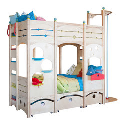 CedarWorks - Rhapsody Bed 6 - Welcome to the bunkhouse. Twins need a spot to catch some z's? Frequent sleepovers? The Rhapsody 6 is a perfect solution for those twins of yours or the next truly magical sleepover. With rolling drawers and lots of nooks and crannies for storage, it's a perfect way to organize the playroom at the same time. Assembly is required. Mattress and accessories not included.