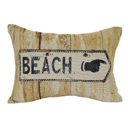 Beach Sign Oblong Decorative Pillow - You will always have a fun reminder to go to the beach with this cute throw pillow that comes in a soft neutral color to blend in with any room's decor.