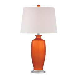 Dimond - One Light White Linen Shade Tangerine Orangewith Polished Nickle Table - One Light White Linen Shade Tangerine Orangewith Polished Nickle Table