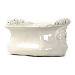 Kathy Kuo Home - Tuscan White Ceramic Large Decorative Bowl - A creamy white glaze adds a touch of soft femininity to this classic earthenware vessel.  Generously proportioned to accommodate a loaf of bread or selection of fruit, this Tuscan inspired piece would also work beautifully on a French Country table holding floral displays or seasonal centerpieces.