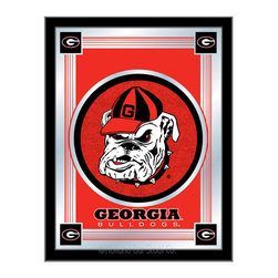 "Holland Bar Stool - Holland Bar Stool Georgia ""Bulldog"" Logo Mirror - Georgia ""Bulldog"" Logo Mirror belongs to College Collection by Holland Bar Stool The perfect way to show your school pride, our logo mirror displays your school's symbols with a style that fits any setting.  With it's simple but elegant design, colors burst through the 1/8"" thick glass and are highlighted by the mirrored accents.  Framed with a black, 1 1/4 wrapped wood frame with saw tooth hangers, this 17""(W) x 22""(H) mirror is ideal for your office, garage, or any room of the house.  Whether purchasing as a gift for a recent grad, sports superfan, or for yourself, you can take satisfaction knowing you're buying a mirror that is proudly Made in the USA by Holland Bar Stool Company, Holland, MI.   Mirror (1)"