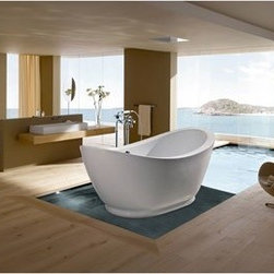 "Aquatica - Aquatica PureScape 148 Freestanding Acrylic Bathtub - White - Treat yourself and soak in peaceful tranquility with Aquaticas stylish and ergonomic PureScape 148 freestanding bathtub. Aquatica challenges everything we thought we knew about a bathtub with the world-class modern design and ergonomic features that are incorporated into all of their luxury tubs. Aquatica Purescape bathtubs are as pleasing to the eye as they are to soak in. Their striking visual appeal adds a mesmerizing modern elegance to any bathroom. From the finest selection of raw materials all the way to the high-class design, Aquatica has spared no expense to innovate and create some of the highest quality bathtubs in the world.Aquatica's bathtubs offer modern glamour at affordable prices. The Aquatica line is diverse enough to encompass both bathtubs with classical elegance that match the style of your bath and bathtub models that are distinctive and unique as the centerpiece of your remodel.FeaturesStriking upscale modern designFreestanding constructionSolid, one-piece construction for safety and durabilityExtra deep, full-body soakErgonomic design forms to the body's shape for ultimate comfortQuick and easy installationConstructed of 8mm thick 100% heavy gauge sanitary grade precision acrylicPremium acrylic and tub thickness provides for excellent heat retentionHigh gloss white surfaceColor is consistent throughout its thickness - not painted onColor will not fade or lose its brilliance overtimePreinstalled cable drive pop up and waste-overflow fitting includedDesigned for one or two person bathingNon-porous surface for easy cleaning and sanitizingBuilt-in metal base frame and adjustable height metal legsChrome plated drain5 Year Limited WarrantyCode compliant with American standard 1.5"" waste outletsSpecificationsOverall Dimensions: 65 in. L X 30 in. W X 25.5 in. HDepth to Overflow Drain: 12.5 in.Interior Depth: 20 in.Interior Length (Top): 58.67 in.Interior Width (Top): 23 in.Interior Length (Bottom): 36.67 in.Interior Width (Bottom): 18.5 in.Weight: 90 lbsCapacity: See Spec SheetShape: UniqueDrain Placement: CenterSpec SheetNote: This model usually ships in 1-2 days. Please allow an additional 2-3 business days for order transmittal and verification."