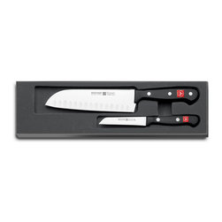 """Wusthof - Wusthof Gourmet Two Piece Asian Cooks Set - Wusthof's Gourmet knives are precisely cut with the latest state of the art laser technology. A wide assortment offers you knives for all purposes. Manufactured from one piece of steel and feature synthetic handles with a full tang handle for all blades longer than 4.72"""". Made in Germany. This 2-piece set includes a 3.5"""" Straight paring knife and 7"""" santoku hollow edge knife."""
