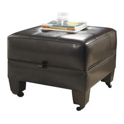 Riverside Furniture - Riverside Furniture Leather Occasional Small Storage Cocktail Ottoman in Brown - Riverside Furniture - Ottomans - 106 - Riverside's products are designed and constructed for use in the home and are generally not intended for rental, commercial, institutional or other applications not considered to be household usage.
