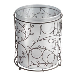 "Twigz Garbage Can Bronze - Twigz Garbage Can features bronze metal with leaf and branch design. Includes removable clear can.  8"" x 8"" x 10"""