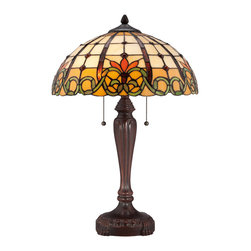 Quoizel - Quoizel TF1440TRS Tiffany 2 Light Table Lamps in Russet - A traditionally detailed base in a Russet finish adds sophistication to the 23.5�-high Tiffany-style Bishop table lamp. The versatile art glass shade contains 370 pieces that are hand-assembled using the copper foil technique developed by Louis Comfort Tiffany. It is illuminated by two 75-watt medium-base bulbs.