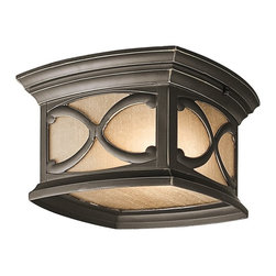 KICHLER - KICHLER 49232OZ Franceasi Traditional Outdoor Flush Mount Ceiling Light - The intricate details of the Olde Bronze panels on this 2 light outdoor ceiling fixture from the Franceasi family create delightful shadow patterns on adjoining wall surfaces and walkways. Uses (2) 60W bulbs or (2) 13-15W CFLs. Rated for damp locations and 90° C Wire Rated.