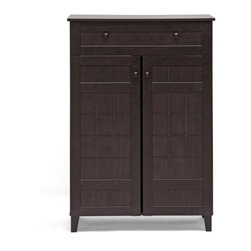 Baxton Studio - Glidden Dark Brown Wood Modern Shoe Cabinet (Tall) - Though the title calls this a shoe cabinet, you'll open it to find five roomy shelves plus a drawer on top for storage. Don't limit this cabinet to just your shoes. Have a quick stashing spot for all those papers and knickknacks that pile up and look like a champ if your neighbors show up with little notice.