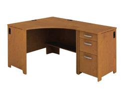 Bush - Bush Envoy Corner Desk and File Pedestal in Natural Cherry - Bush - Computer Desks - ENVPKG2