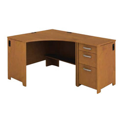Bush - Bush Envoy Corner Desk and File Pedestal in Natural Cherry - Bush - Computer Desks - ENVPKG2