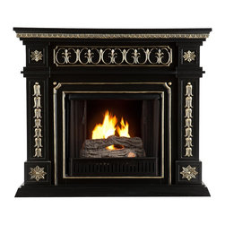 "Southern Enterprises Inc - Southern Enterprises Inc Donovan Gel Fuel Fireplace - Black - This gel fuel fireplace is the definition of stately! The painted black finish and beautiful, hand-painted gold accents produce a sense of elegance and world travel - an instant must have. To top it off, this fireplace requires no electrician or contractor for installation, allowing for instant remodeling without the usual mess or expenses.   This fireplace features hand-carved rosettes and ornate details. The French influences and Victorian-esque elements of the design make it a beautiful focal point in any room. FireGlo Gel Fuel snaps and crackles like real wood for the perfect fireplace experience: replace the gel fuel with decorative pillar candles for year round enjoyment.  Convenience and ease of assembly are just two of the reasons why this fireplace is perfect for your home. The ornate, elegant style of this fireplace works well in traditional and transitional homes. This handsome fireplace is great for the living room and bedroom, and even adds a warm, romantic touch to the dining room or home office. Let this portable fireplace give your home a more welcoming and enjoyable atmosphere.   Please note: Our photos are as accurate as possible, but color discrepancies may occur between the product and your monitor. The handcrafted touch of artisan skill also creates variations in color, size and design: slight differences should be expected.    - 47"" W x 14.5"" D x 40.5"" H                                                                             - Black finish with hand-painted gold accents                                                           - Supports up to 75 lb. (mantel)                                                                        - Accommodates a flat panel TV up to 45"" W overall                                                      - Constructed of poplar and MDF                                                                         - Assembly required                                                                                       - None of the mess of a wood burning fireplace                                                          - FireGlo Gel Fuel snaps and crackles like real burning wood (fuel not included)                        - Emits no smoke, odor, or ash                                                                          - Holds up to 3 cans of gel fuel simultaneously for a full bodied 6-8"" flame                            - Each can of FireGlo produces up to 3000 BTU                                                           - Supplements heat to save on energy consumption                                                        - Includes firebox, cement log, faux coal cinder, and screen kit"