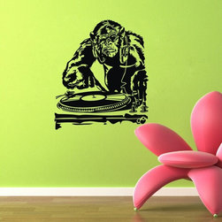 ColorfulHall Co., LTD - Wall Sticker Cool Jungle Animals King Kong Gorilla Playing Music Gorilla - Wall Sticker Cool Jungle Animals King Kong Gorilla Playing Music Gorilla