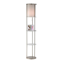 Adesso - Adesso Holden Shelf Contemporary Floor Lamp X-22-6663 - Satin steel round open frame has a fabric lined white nylon string shade that sits atop a frosted glass disk. Two additional glass disk shelves are available for storage or display, as is the bottom satin steel shelf. 150 Watt incandescent or equivalent CFL bulb.