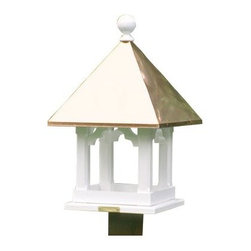 Lazy Hill Farms Blue Verde Copper Roof Square Bird Feeder - The Lazy Hill Farms Blue Verde Copper Roof Square Bird Feeder is for the birds. No really! This charming bird feeder is loaded with details and has plenty of room to feed a whole flock of fine feathered friends. It has an open design with decorative columns made of white, solid cellular vinyl that have the look and feel of wood without the maintenance. The conical roof is made of copper with a weathered blue patina and this bird feeder comes complete with a metal plate for easy post mounting. About Lazy Hill Farm Designs Lazy Hill Farm Designs is a leader in garden and birding accessories. They are known for turning exquisite designs into exceptional quality garden accessories. All Lazy Hill Farm products are made of solid cellular vinyl that looks and feels like genuine wood yet requires no maintenance. All the roofs are removable for easy cleaning and each one is handcrafted in America. These are among the finest garden accessories on the market.