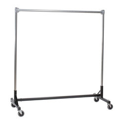 Z Racks - 75 in. Heavy Duty H-Rack Single Rail Garment - This heavy duty rack is 75 inches in length. 5 ft. uprights with one 6 ft. hangrail. 500 lbs. capacity. High quality durable, environmentally safe powder black coated finished base. 14 gauge steel base. 16 gauge upright bars and hangrail. 1 5/16 in. outside diameter upright bars and hang rails. Heavy duty 4 in. grey non-marking soft rubber with TP center casters. Assembly Required. 75 in. L x 23 in. W x 66 in. H