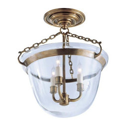 Visual Comfort and Company - Antique Brass Country Bell Jar Semi-Flush Lantern - This stately country bell jar semi-flush lantern features a lustrous antique brass finish.  The classic bowl glass shade adds just the right touch of classic style to this beautiful piece. Visual Comfort and Company - CHC2109AB