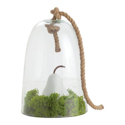 Judd Small Glass/Rope Cloche - Make an arrangement of charming or beautiful objects all the more cherished by enclosing it inside a glass cloche especially a version of that essential traditional accessory which is so intriguingly detailed as the Judd Cloche. Available in two sizes, this clear glass bell is topped by a simple knot of heavy jute rope, lending a crafted appearance to the vignette you enclose.