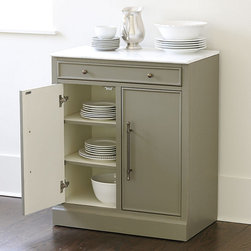 Ballard Designs - Paulette Cabinet - Crafted of hardwood & fine veneers. Gray finish with cream interior. Full marble top. Antique brass hardware. Full extension glides. This full-size cabinet creates more counter and storage space in the kitchen, family room or bath. Solid marble top is perfect for rolling out dough or staging a bar. Group with our best-selling Paulette Server with Hutch for even more storage options and workspace.Paulette Cabinet features: . . . . .