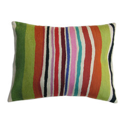 Kim Parker Inc. - Apple Green Stripe Pillow With Insert - This pillow packs a punch! With eye-popping design and luxe-to-the-touch 100 percent New Zealand wool, it brings cutting-edge cool to your couch.