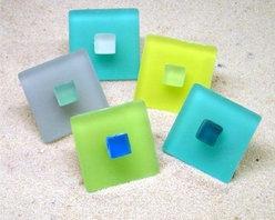 Beach Glass Pull Knob & Hook Hardware - Beach Glass Knobs in Lime Soda, Sea Blue Green, Banana Slug and Stormy Gray