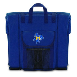 Picnic Time - McNeese State Stadium Seat in Navy - The Stadium Seat is ideal for anyone who enjoys sporting events, concerts, or other arena activities. This padded seat is made of durable 600D polyester and provides maximum seat support, which is especially useful when sitting on hard bleacher seats or benches. EPE foam in the seat's core also insulates your seat from cold bleachers. A large zippered pocket keeps all of your essentials within reach. Convenient carry straps allows the seat to be carried as a folded tote. You'll want to take the Stadium Seat to every spectator event to ensure your seating comfort.; College Name: McNeese State; Mascot: Cowboys; Decoration: Digital Print