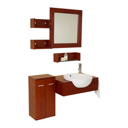 Fresca - Fresca Stile Bathroom Vanity w/ 3 Wall Mounted Shelves & Side Cabinet - If Rene Magritte had been commissioned to design a bathroom vanity, this might be what he would have created. That said, it's quite the modern take on 1920-1930s design. Mostly geometric shapes, save for the white sink which is a nice contrast of the medium dark wood. At the same time, this vanity is very simple yet extravagant with the spacial liberties. Instead of storage under the sink, it has been moved to the side. Easy to double as a counter top and shelving unit. A great retro piece.