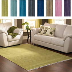 Alexander Home - Hand-woven Fleur Wool Rug (3'6 x 5'6) - Fleur Collection is an all-wool,solid-colored flat weave from India updated with the addition of fringe that offers a transitional,tonal look in a choice of: aqua,apple,pink,denim,charcoal,moss,purple and blue.