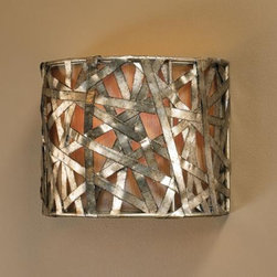 "Liata Collection Silver Leaf 9"" High Wall Sconce - I love this super-hip wall sconce. It's the perfect mix of metal shimmer."