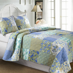 None - Vintage Jade 3-Piece Quilt Set - These cotton Vintage Jade quilt sets display an intricate patchwork design in a green and blue pattern. Regardless of size,each e-piece set is generously cut for extra coverage and comfort. This quilt has an antique look and feel about it.