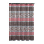 """Shower Curtain- Sonata Brown/ Coral Embossed Microfiber - 72""""x 72"""" - Sonata Brown/ Coral Embossed Microfiber Shower Curtain- 72""""x 72"""""""