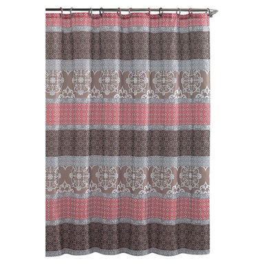 "Shower Curtain- Sonata Brown/ Coral Embossed Microfiber - 72""x 72"" - Sonata Brown/ Coral Embossed Microfiber Shower Curtain- 72""x 72"""