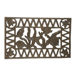 Handcrafted Nautical Decor - Rustic Cast Iron Sealife Doormat 22'' - This Rustic Cast iron Sealife Doormat 22'is a durable door mat   that will rest perfectly in front of your beach themed home.  Constructed  from cast iron, this vintage style door mat will compliment  any patio  with this wonderful sea life decoration. Get this as a gift  for a  coworker, family or friend who has an affinity for sea life  decor. ------    Handcrafted from cast iron by our master artisans--    Excellent sea life decor--    Durable, sturdy and heavy beach theme door mat--