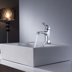 Kraus - Kraus Bathroom Combo Set White Square Ceramic Sink/Faucet - Make this square ceramic sink and single-hole lavatory faucet combo by Kraus the centerpiece of your bathroom remodel. The above-counter basin is an elegant eye-catcher, while the chrome-finished vessel faucet adds a stylish accent to the presentation.