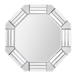 Octogonal Beveled Mirror - Elegant art deco mirror reminiscent of the 1920's glamor era will add instant sparkle and energy to your home. The  beveled mirror mosaic frame is hand crafted with three rectangular mirrors joined together by a pentagon mirror at each point creating a gorgeous geometric frame for the Octagonal Beveled Mirror in the center.