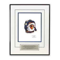 """Heritage Sports Art - Original art of the NHL 2003-04 Atlanta Thrashers jersey - This beautifully framed piece features an original piece of watercolor artwork glass-framed in a timeless thin black metal frame with a double mat. The outer dimensions of the framed piece are approximately 13.5"""" wide x 17.5"""" high, although the exact size will vary according to the size of the original piece of art. At the core of the framed piece is the actual piece of original artwork as painted by the artist on textured 100% rag, water-marked watercolor paper. In many cases the original artwork has handwritten notes in pencil from the artist. Simply put, this is beautiful, one-of-a-kind artwork. The outer mat is a clean white, textured acid-free mat with an inset decorative black v-groove, while the inner mat is a complimentary colored acid-free mat reflecting one of the team's primary colors. The image of this framed piece shows the mat color that we use (Medium Blue). Beneath the artwork is a silver plate with black text describing the original artwork. The text for this piece will read: This original, one-of-a-kind watercolor painting of the 2003-04 Atlanta Thrashers (now Winnipeg Jets) uniform is the original artwork that was used in the creation of thousands of Winnipeg Jets and Atlanta Thrashers products that have been sold across North America. This original piece of art was painted by artist Nola McConnan for Maple Leaf Productions Ltd. The piece is framed with an extremely high quality framing glass. We have used this glass style for many years with excellent results. We package every piece very carefully in a double layer of bubble wrap and a rigid double-wall cardboard package to avoid breakage at any point during the shipping process, but if damage does occur, we will gladly repair, replace or refund. Please note that all of our products come with a 90 day 100% satisfaction guarantee. If you have any questions, at any time, about the actual artwork or about any of the art"""