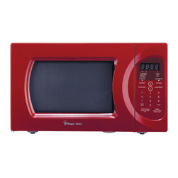 None - Magic Chef Red 900-watt Microwave with Digital Touch - The microwave's 0.9 cubic foot cooking area is perfect for most uses and a slim exterior allows you to easily place this microwave anywhere. Cook popcorn or a frozen pizza at the push of a button with a digital clock display for easy viewing.