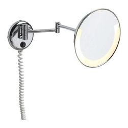 "WS Bath Collections - Pom d'Or Wall-mount Extendable Magnifying (3X) Makeup Mirror with Light, 8.7"" - Features: -Make up mirror. -Mirror Pure collection. -Solid brass base. -Extendable design. -With lighting. -Made in Spain. Specifications: -Extension: 5.1"" - 15.8"". -Overall width: 8.7""."