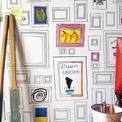 Frames Wallpaper - This is a great one for the children's room, art/craft room or even in the family room where you put family pictures in the frames — how fun!
