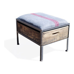 Vintage Crate Ottoman - 1 Drawer Grey with Red Stripe - These amazing handmade ottomans are made locally from vintage fruit crates, and are upholstered with different vintage fabrics. Each are unique and crate graphics may vary. They make a great addition to any room.