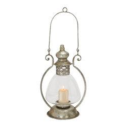 Vintage Themed Metal Glass Lantern - Description: