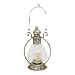 Vintage Themed Metal Glass Lantern - Description: